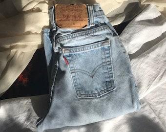 a484b819020 Vintage Levis 512 | High Waist Slim Fit Tapered Leg | Light Wash | 80s 90s  | XXS XS 23 24