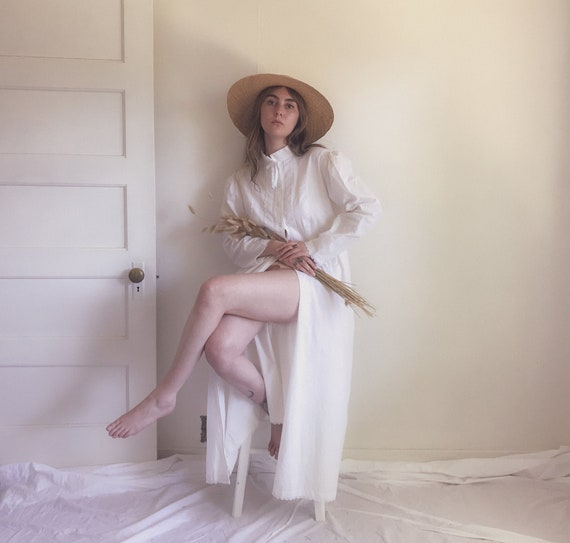 Antique Inspired Vintage Cotton & Linen Puff Sleev