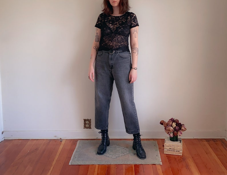 Arizona High Waisted Tapered Leg 90s Mom Jeans Made in USA 34 Waist 90s Perfectly Faded Black Jeans
