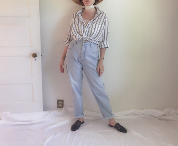 90s Olive & Navy Striped Button Up Shirt   90s Whi