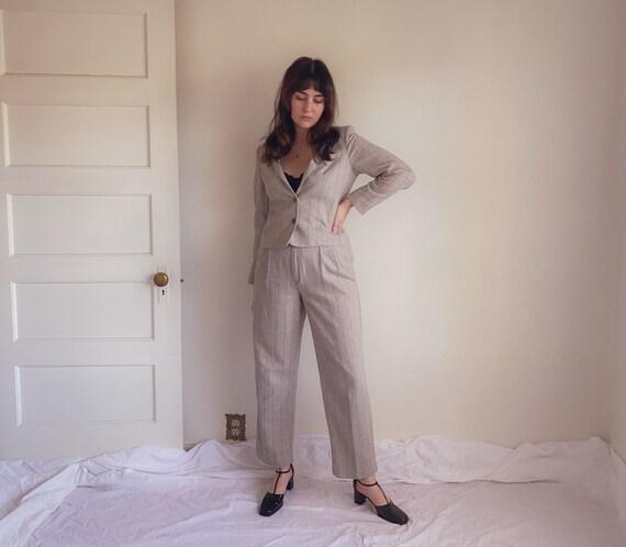 80s Herringbone Glitter Stripe Suit   Grey Wool Bl