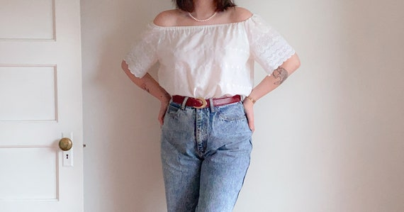80s 90s Cotton Eyelet Peasant Top | Vintage Off Th