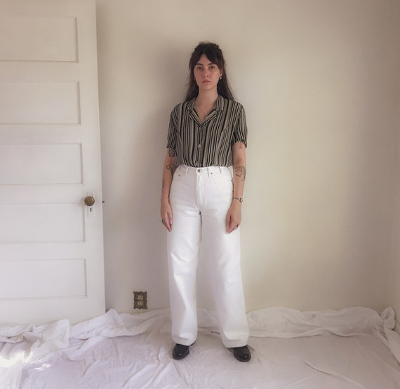 90s Bugle Boy Gold Crest White Wide Leg Jeans | 90