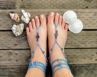 Pansy flower barefoot sandals beach wedding jewelry soleless sandals footless sandals bridal jewelry hand painted polymer clay