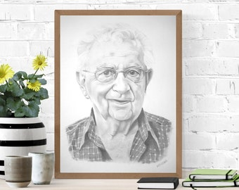 Custom Portrait Drawing of a Family Member, Sentimental Gift, Grandparent or Couple, Pencil or Colored Pencil Drawing by Christine Lezcano
