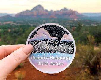"Holographic Thunder Mountain (Sedona, Arizona) 3"" Vinyl Sticker, Laptop or Water Bottle Decal, Waterproof and Dishwasher Safe"