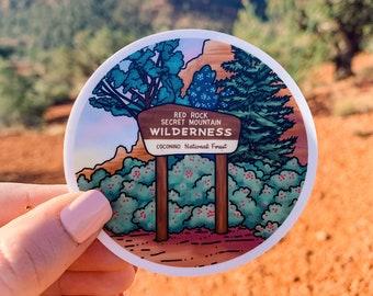 "Red Rock Secret Mountain Wilderness - Sedona, Arizona 3"" Vinyl Sticker, Laptop or Water Bottle Decal, Waterproof and Dishwasher Safe"