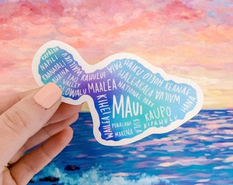 """Maui Hawaii 4"""" Vinyl Sticker, Cities of the Island, Laptop or Water Bottle Decal, Dishwasher and Microwave Safe"""