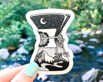 """Chemex 3"""" Vinyl Sticker for Coffee and Outdoor Lovers, Black and White, Laptop or Water Bottle Decal, Waterproof and Dishwasher Safe"""