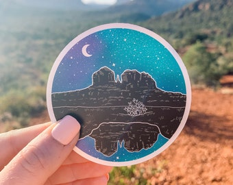 "Holographic Stars over Secret Slick Rock (Sedona, Arizona) 3"" Vinyl Sticker, Laptop or Water Bottle Decal, Waterproof and Dishwasher Safe"