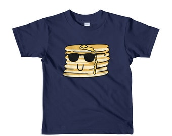 Cool Pancakes Short sleeve kids t-shirt, age 2 3 4 5 6, funny food, cute kid shirt, youth tee, birthday gift, back to school