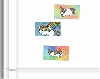 Refrigerator Magnet Trio with Rainbow Unicorns and bold Bright colors