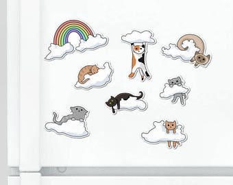 Refrigerator Magnet Cute Cat Magnet Set Silly Cats Fridge Magnet Cubicle Decor Kawaii Magnet Cats on Clouds Funny Cat Magnets