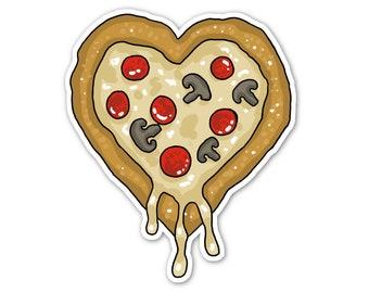 Pizza Heart Vinyl Sticker, Pizza Love, Car Sticker, Bumper Sticker, Laptop Decal, Skateboard Sticker, Cute Food