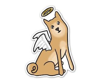 Angel Dog Vinyl Sticker, Pet Memorial, Cute Shibu Ina, Car Sticker, Laptop Decal, Skateboard Sticker, Dog Sticker, Tan Puppy