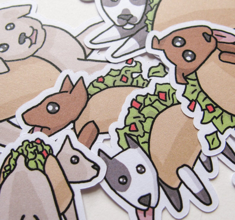 Taco Dog Stickers Funny Food Journaling Sticker Flakes image 0