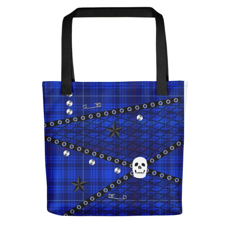 Studs Purse Large Bag Skulls Handle Bag Satchel Blue Punk Plaid Tote bag Reusable Tartan Shopping Bag