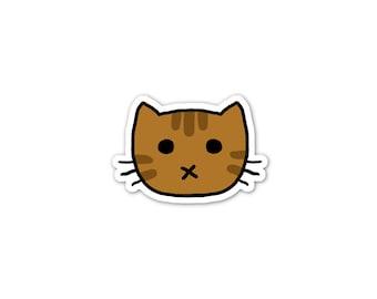 Chocolate Tabby Cat Sticker, Phone Sticker, Cat Laptop Sticker, Car Sticker, Bumper Sticker, Vinyl Sticker, Cute Cat, Brown Cat