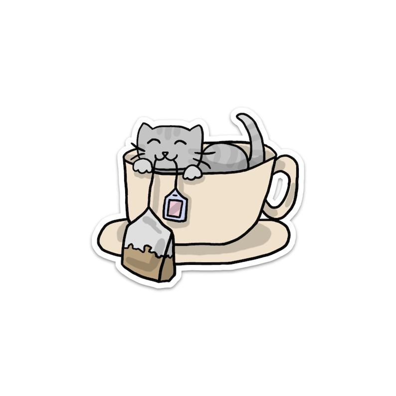 Teacup Kitty Vinyl Sticker Cute Cat Kitten Sticker Car image 0