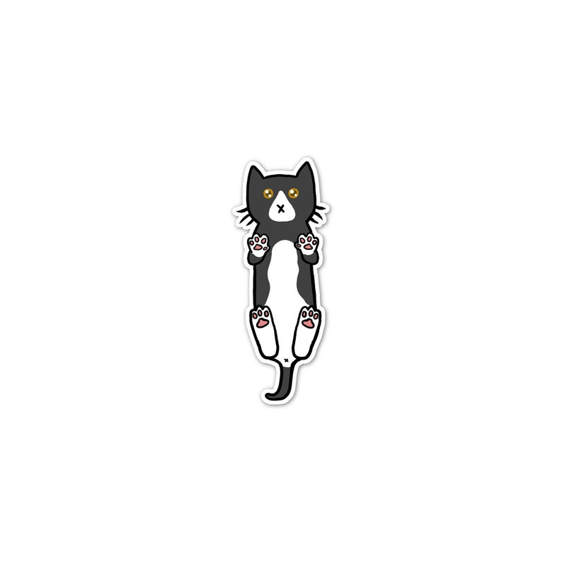 Black and White Cat Sticker Phone Sticker Cat Laptop image 0