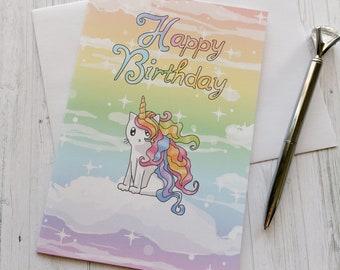 Rainbow Caticorn Card, Rainbow Card, Unicorn Card, Cute Cat Card Birthday Card Cute Greeting Card Happy Birthday Card Thinking of You Note