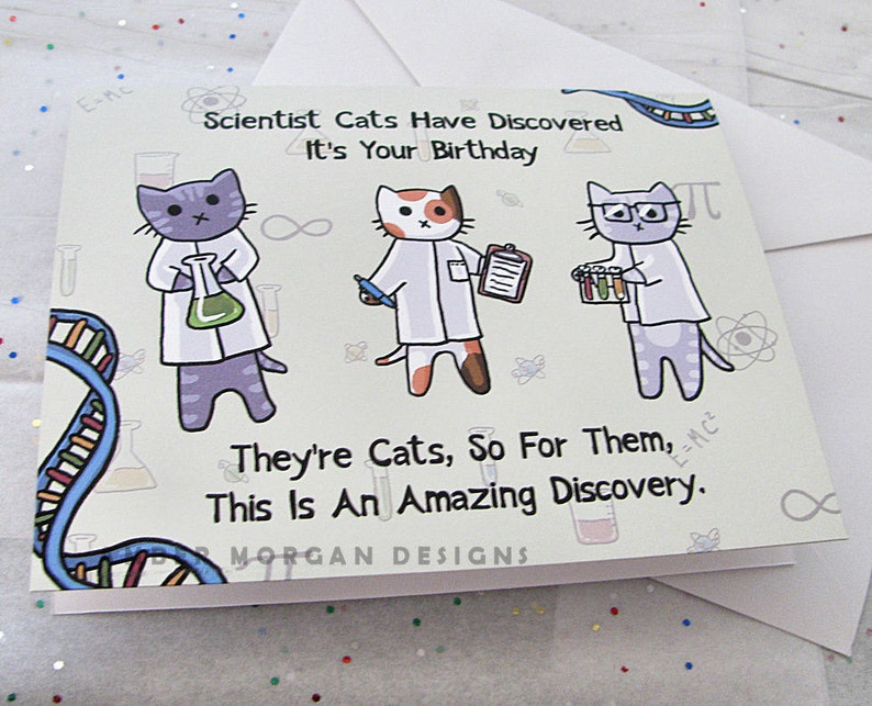 Funny Cat Card Birthday Card Cute Greeting Card Science image 0