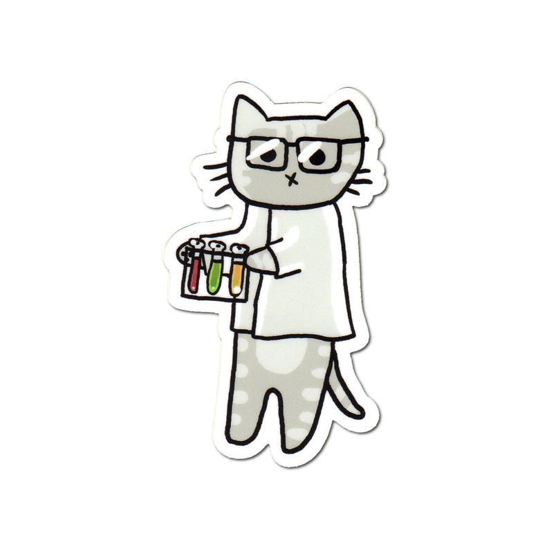 Cute Cat Vinyl Sticker Scientist Kitty Cute Sticker Car image 0