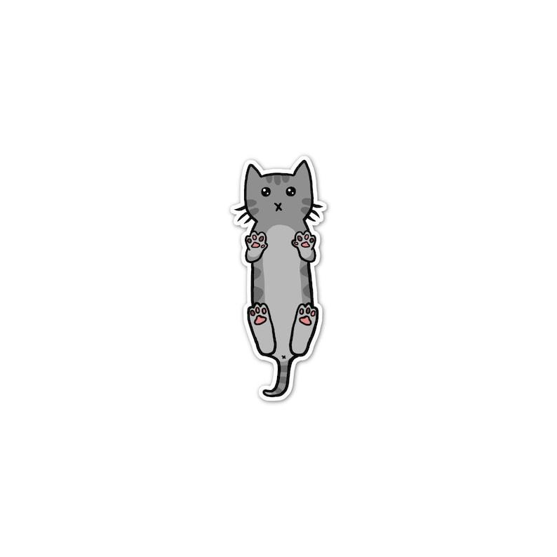 Gray Tabby Cat Sticker Phone Sticker Cat Laptop Sticker Car image 0