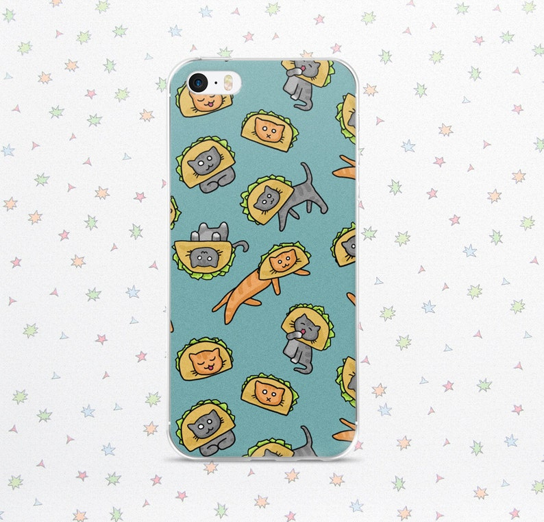 Taco Cat Case for iPhone 6/7/8/X Cute Cats in Taco Hats image 0