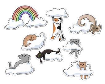 Cute Cats Stickers, Paper Stickers, Journaling, Sticker Flakes, Cute Cats, Funny, Humor, Silly, Stationery, Scrapbooking, Rainbow, Clouds