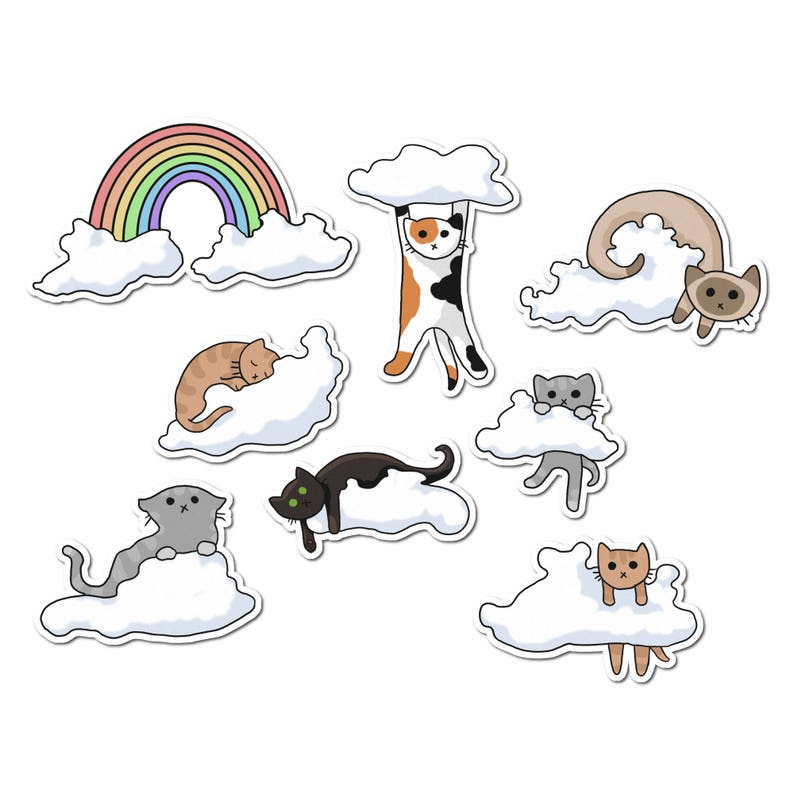 Cute Cats Stickers Paper Stickers Journaling Sticker image 0
