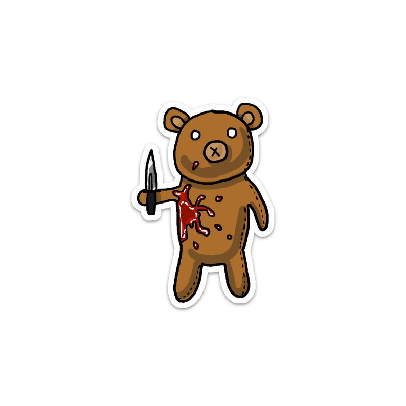 Rotten Teddy Bear Vinyl Sticker Humerous Crazy Stuffed image 0
