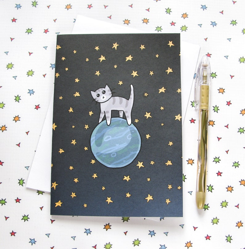 Space Cat Greeting Card Funny Greeting Card Cute Note Anytime image 0