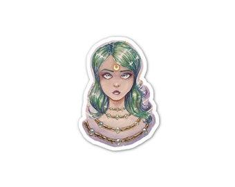 Moon Goddess Vinyl Sticker, Watercolor Art, Green Hair, Car Sticker, Bumper Sticker, Laptop Decal, Skateboard Sticker, Phone Sticker