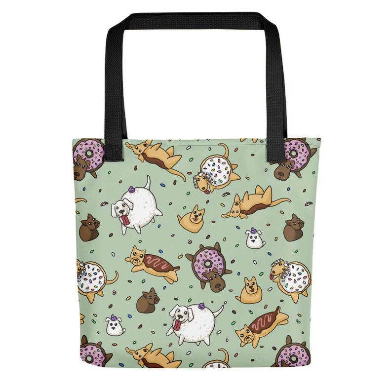Donut Dogs Tote bag Cute Puppies Funny Doggo Beach Bag image 0