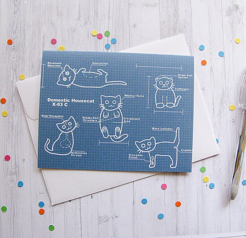 Cat Blueprints Greeting Card Funny Greeting Card Cute Note image 0