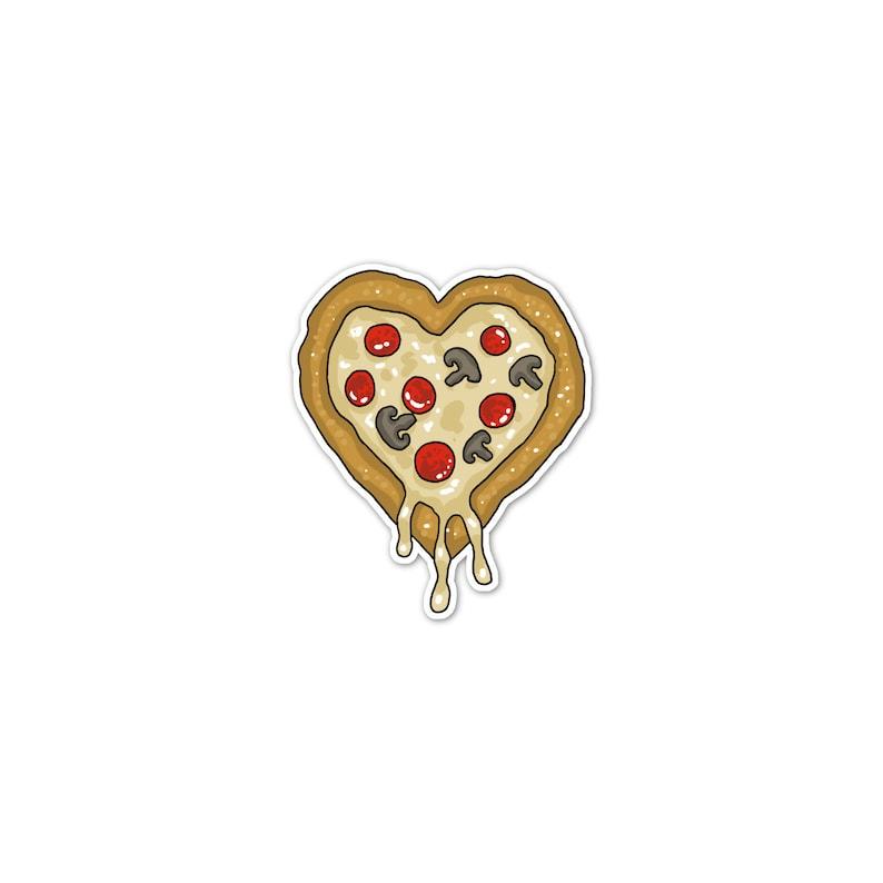 Pizza Heart Vinyl Sticker Pizza Love Car Sticker Bumper image 0