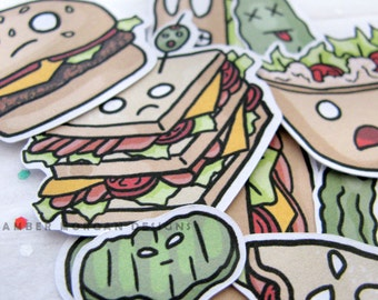 Sandwich Stickers, Paper Stickers, Journaling, Sticker Flakes, Cute Food, Stationery, Scrapbooking, Crazy Food, Crazy Sandwiches, Funny
