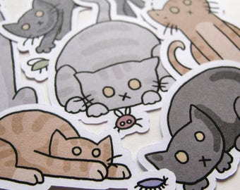 Cute Cat Stickers, Playful Kitties, Journaling, Sticker Flakes, Stationery, Scrapbooking, Paper Stickers, Adorable Kittens