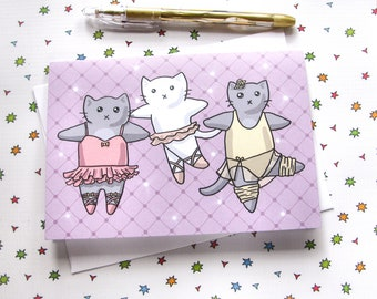 Ballerina Cat Greeting Card Birthday Card Cute Note Cat Lover Dancer Gift Purple Pretty Sparkles Happy Birthday