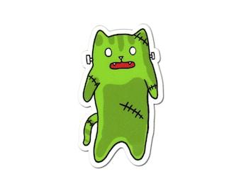 Monster Cat Sticker, Laptop Sticker, Car Sticker, Bumper Sticker, Vinyl Sticker, Cute Cat, Frankenstein Sticker, Skateboard Sticker