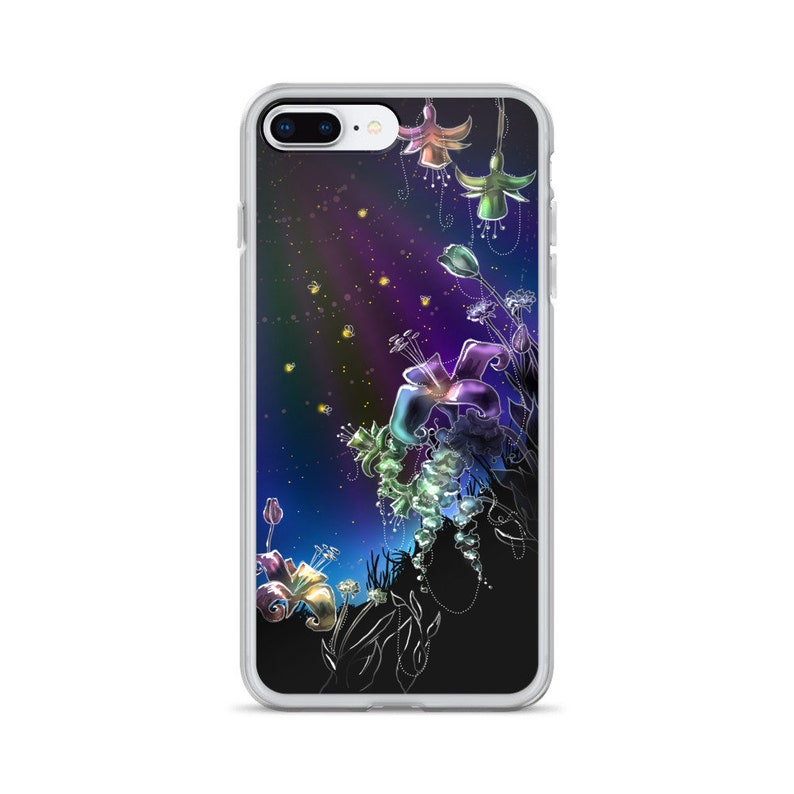331955e57ea07 Glowing Fireflies case for iPhone, Stars, Rainbow Flowers, Night Scene,  Pretty Case, Cool Case, Cute Phone, Painting, Colorful