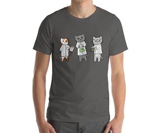 Science Cats Adult Short-Sleeve Unisex T-Shirt, Cute Cats, Fun shirt, Geek Clothes, Cute Kitties