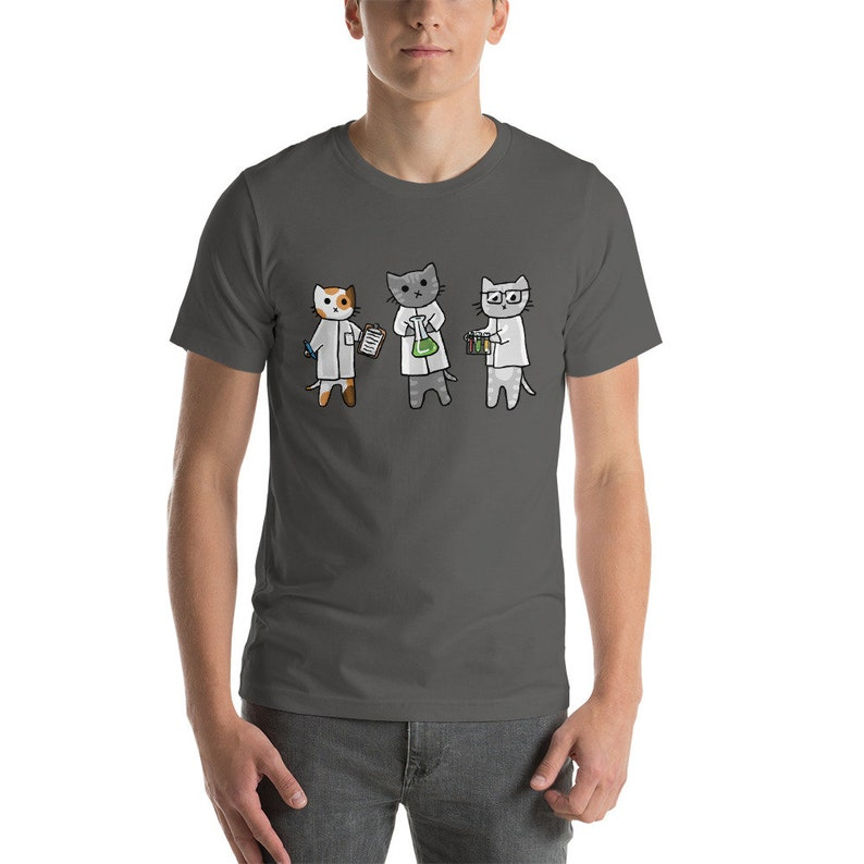 Science Cats Adult Short-Sleeve Unisex T-Shirt Cute Cats Fun image 0