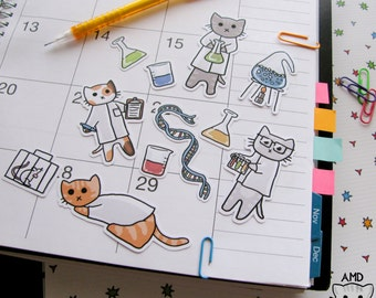 Cute Cat Stickers, Scientist Stickers, Journaling, Sticker Flakes, Cute Cats, Funny, Humor, Stationery, Scrapbooking, Scientific, Science