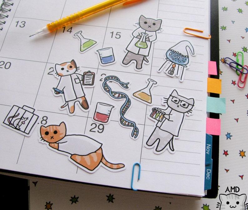 Cute Cat Stickers Scientist Stickers Journaling Sticker image 0
