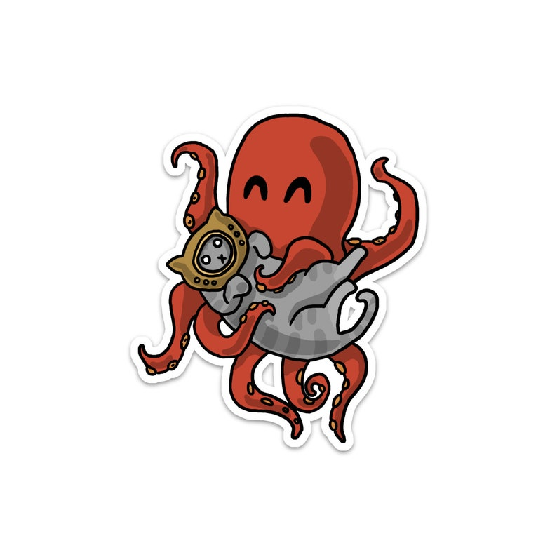 Octopus and Kitty Vinyl Sticker Cute Cat Deep Sea Car image 0