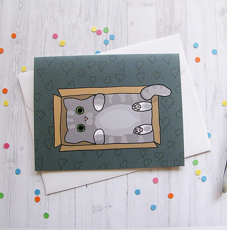Cat in a Box Greeting Card Cat Card Funny Greeting Card Cute image 0