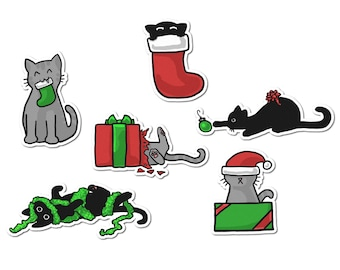 Christmas Stickers, Cute Cat Stickers, Journaling, Sticker Flakes, Cute Cats, Funny, Humor, Stationery, Scrapbooking, Holiday, Red Green