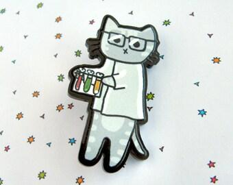Scientist Cat Brooch, Cute Cat Pin, Cat Face Pinback, Cute Cat Accessory, Funny Button, Cat Pin, Wearable Art, Kawaii, Geeky Cat, Science